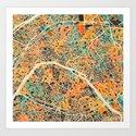 Paris mosaic map #2 Art Print