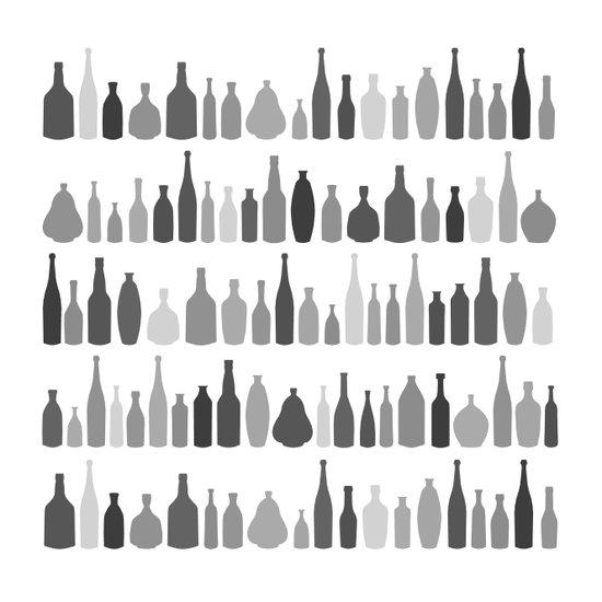 Bottles Black and White on White Art Print