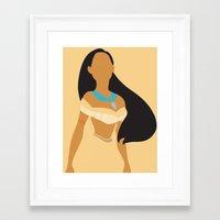 Pocahontas - Minimalist Framed Art Print