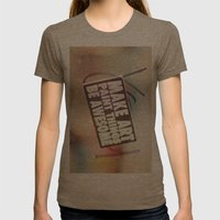 Hello Art Womens Fitted Tee Tri-Coffee SMALL