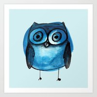 Blue Owl Boy Art Print