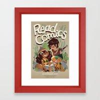 Read Comics Poster Framed Art Print