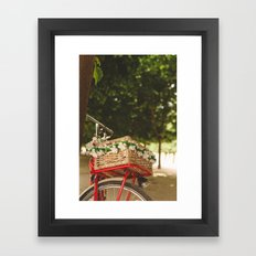 Spring red bike Framed Art Print