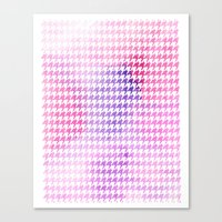 Houndstooth pink watercolor Canvas Print
