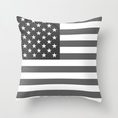 American flag - Gray scale version Throw Pillow