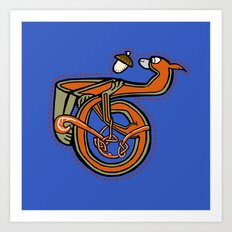 Medieval Squirrel Letter T  Art Print
