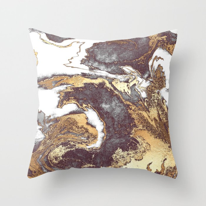 Black White Gold Throw Pillow By Jenna Davis Designs