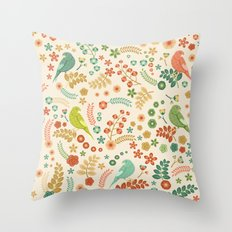 Vector Floral Pattern Throw Pillow