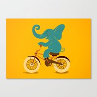 Elephant on the bike Canvas Print