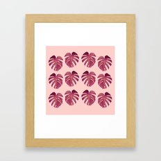 Monstera Leaf Pattern Framed Art Print