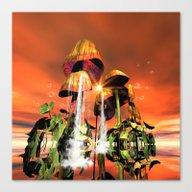 Mushrooms In The Sea Canvas Print