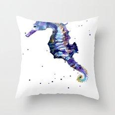 Seahorse painting, seahorse, seahorse illustration, beach lover gift, ocean lover art Throw Pillow