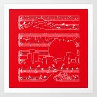 Moonlight Sonata Red Art Print
