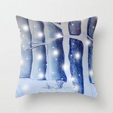 Snow fall in the dark Throw Pillow