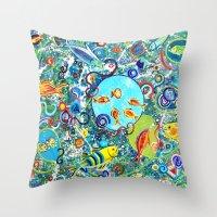 Fish Party Throw Pillow