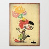 The Clown / Balloons Canvas Print
