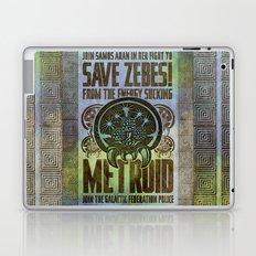 Save Zebes! Metroid Geek Art Vintage Poster Laptop & iPad Skin