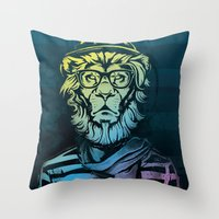 Hipster Lion Black and White Throw Pillow