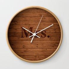 Mrs. on Wood Wall Clock