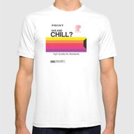 VHS And Chill Mens Fitted Tee White MEDIUM