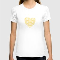 Pretty golden heart Womens Fitted Tee White SMALL