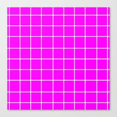 Grid (White/Fuchsia) Canvas Print