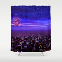 Spaceport Sunset Shower Curtain