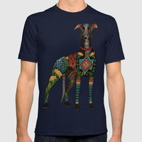 greyhound azure blue Mens Fitted Tee Navy SMALL