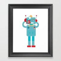 Robot loves Diana Framed Art Print