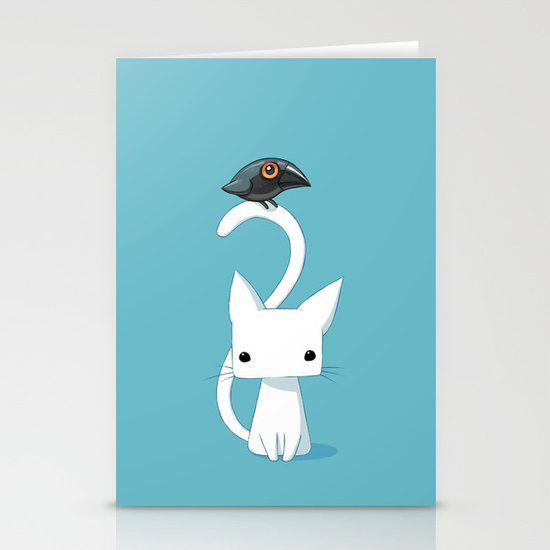 Cat and Raven Stationery Card