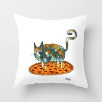 Pepperoni, Black Olives and Cat Throw Pillow