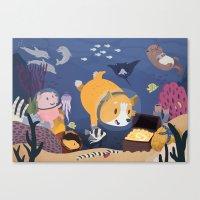 Diving For Treasure! Canvas Print