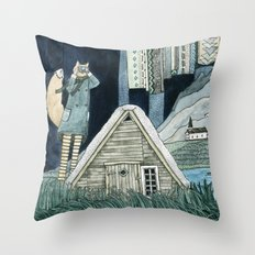Photographing Northern Lights Throw Pillow