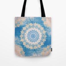 GOLD AND BLUE BOHOCHIC MANDALA Tote Bag