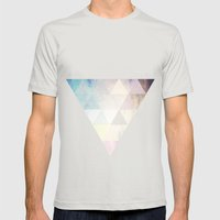 Geometric Groove Mens Fitted Tee Silver SMALL