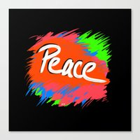 Peace (retro Neon 80's S… Canvas Print