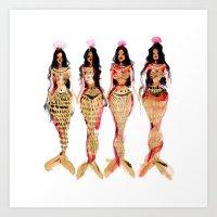 Olivian Mermaids  Art Print