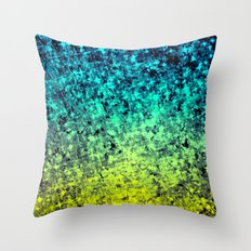 OMBRE LOVE Bold Beautiful Starry Night Glitter Abstract Painting Midnight Blue Mint Turquoise Yellow Throw Pillow