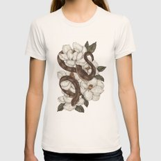 Snake and Magnolias Womens Fitted Tee Natural SMALL