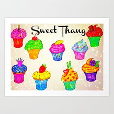 SWEET THANG - Cupcakes Sweet Sugary Goodness, Yummy Treat Romantic Colorful Bakery Illustration Art Print