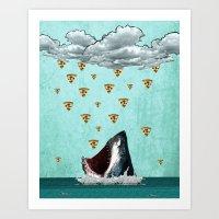 Pizza Shark Print Art Print