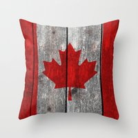 Canada Flag On Heavily T… Throw Pillow