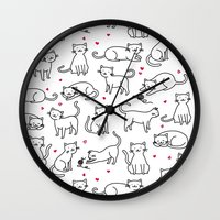 Kitties with Hearts Wall Clock