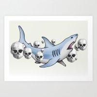 Shark & Skulls Art Print