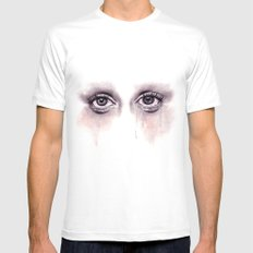Bloodshot Eyes Doodle  SMALL Mens Fitted Tee White