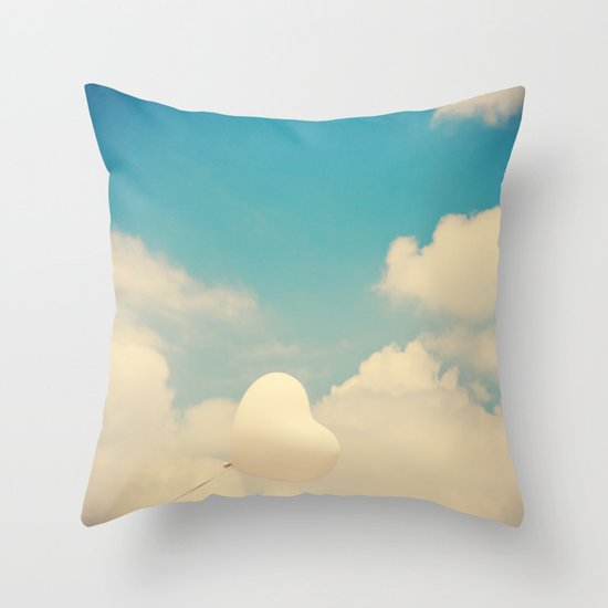 Blind Love, Heart Ballon and blue sky  Throw Pillow