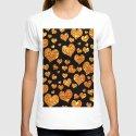 Valentine's | Girly Gold Glitter Cute Love hearts Pattern Black T-shirt