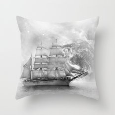 Sailing uncharted waters Throw Pillow