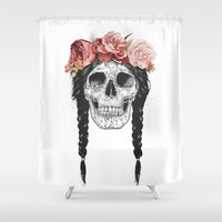 Skull with floral crown Shower Curtain