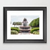 Charleston Pineapple Fountain Framed Art Print